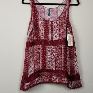 Wallflower red print tank top with lace cutouts